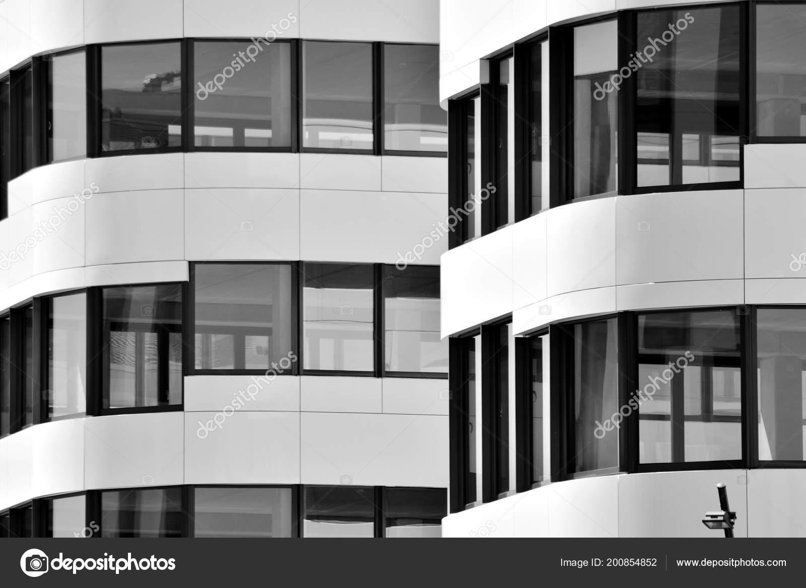 Immeuble Bureaux Moderne Mur Verre Acier Noir Blanc Photographie
