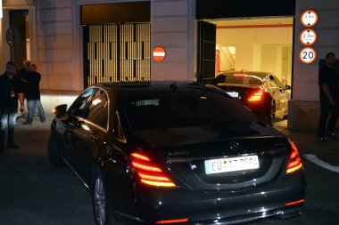 Warsaw, Poland. 8 July 2018. Cars with musicians from the legendary Rolling Stones group after the concert return to the Raffles Europejski hotel in Warsaw