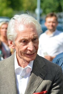 Warsaw, Poland. 9 July 2018. Charlie Watts, musician of the legendary Rolling Stones team during a meeting with fans. Just before departure after the concert in Warsaw