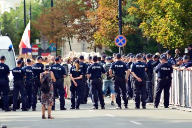 Warsaw, Poland. 20 July 2018. Police in front of the Polish parliament. Police stands guard during a political protest.
