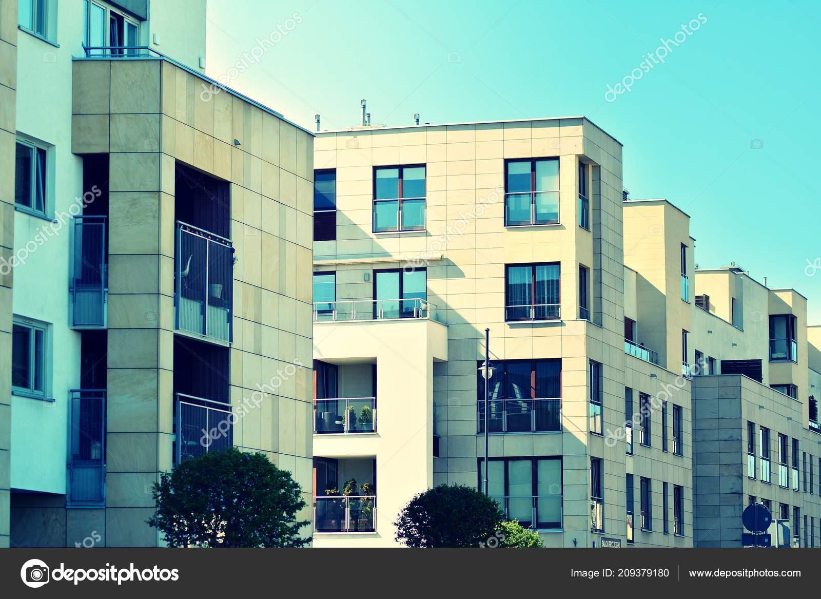 Modern Apartment Building Exterior Retro Colors Stylization Stock Photo