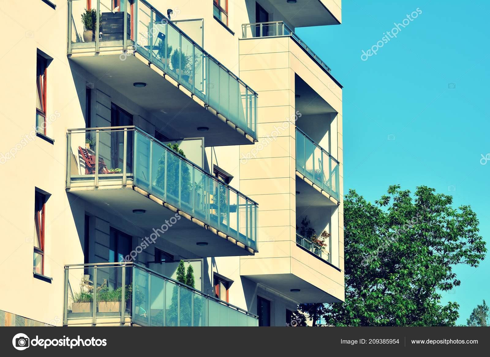 Modern Apartment Building Exterior Retro Colors Stylization ...