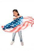 Latin gyerek denim farmer állt amerikai zászló elszigetelt fehér