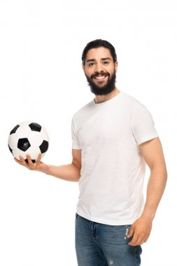 happy latin man holding soccer ball and smiling isolated on white