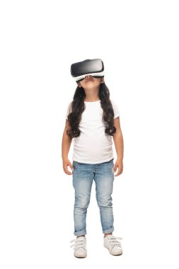 cute latin kid wearing virtual reality headset isolated on white