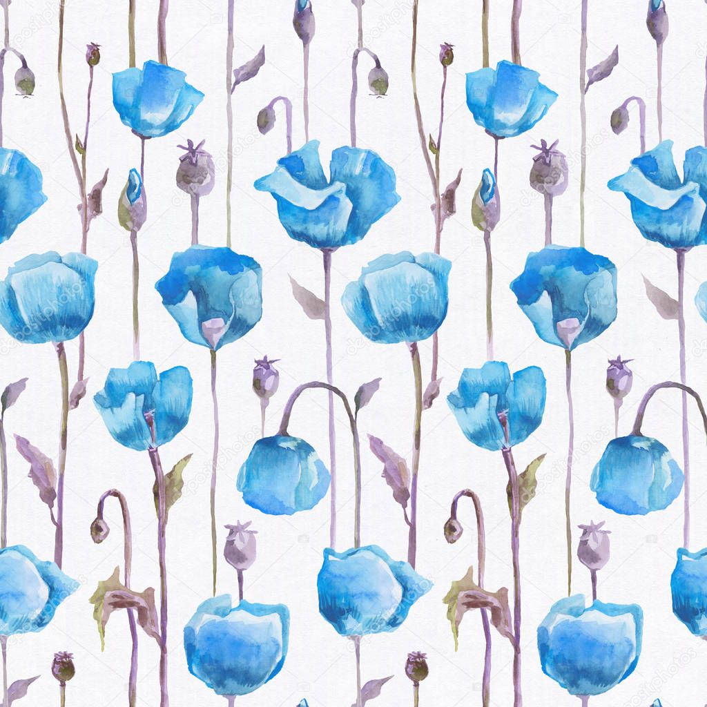 Watercolor poppies. Hand drawn seamless pattern
