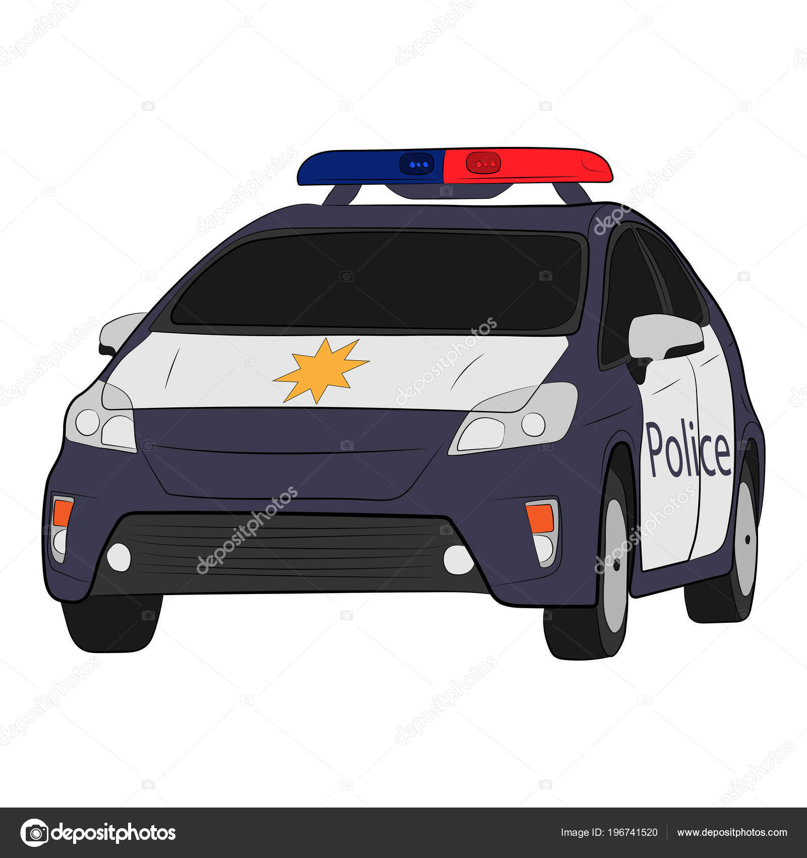 Police Car Vector Drawing Illustration Stock Vector C V Lab