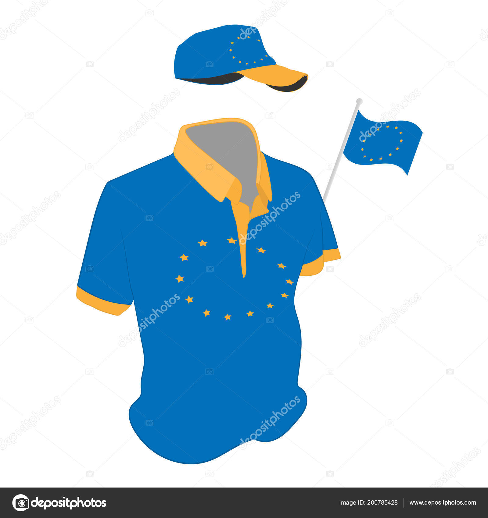 69ae310d2 Travel clothes set: t-shirt, baseball cap and shorts in Europa Union flag  colors. the vector drawing illustration — Vector by ...