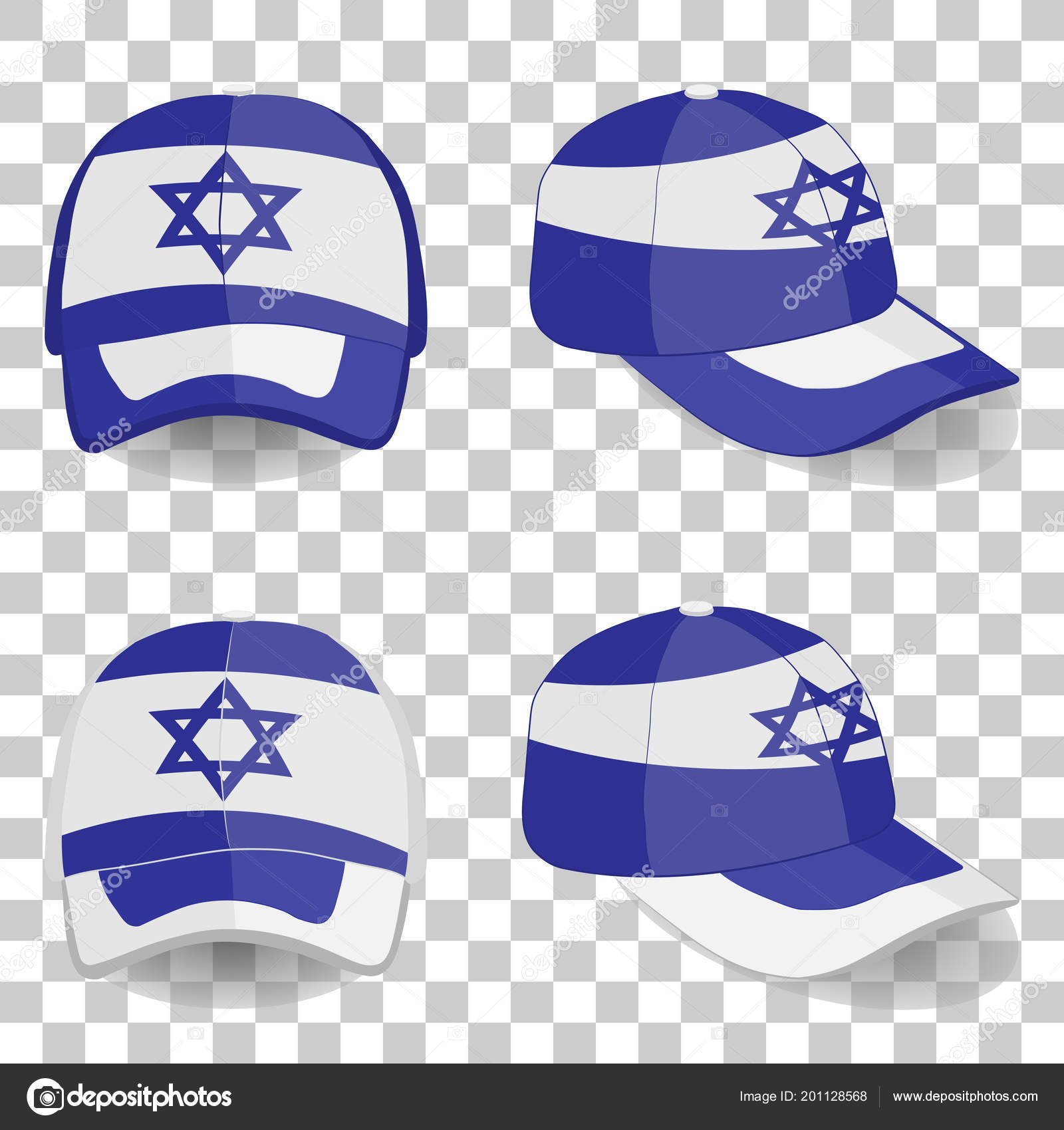 b265bc5c296 Baseball cap with Israel flag. colorful set. the vector illustration —  Vector by ...