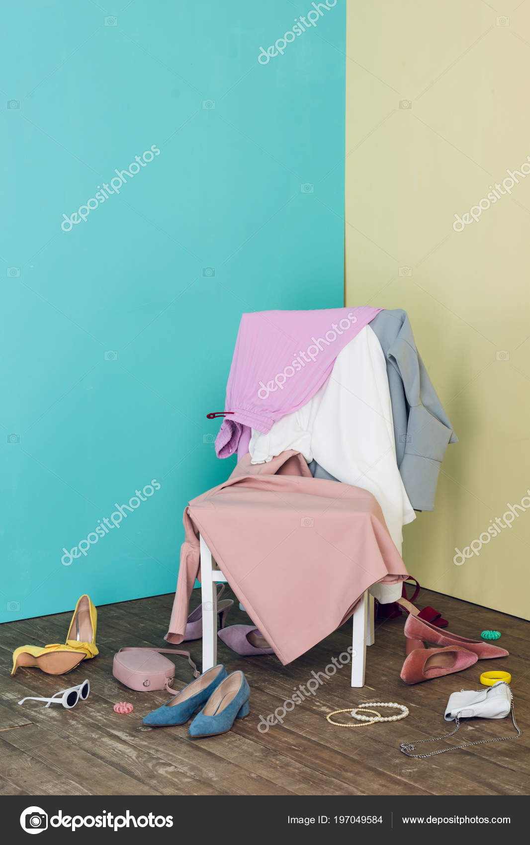 Messy Room Elegant Clothes Shoes Chair U2014 Stock Photo