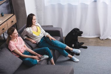 smiling female friends with remote controller watching tv and black retriever sitting near at home