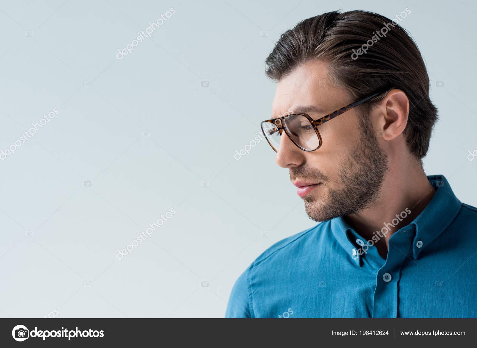b8a967b1b5 Serious Young Man Stylish Eyeglasses Isolated White — Stock Photo ...