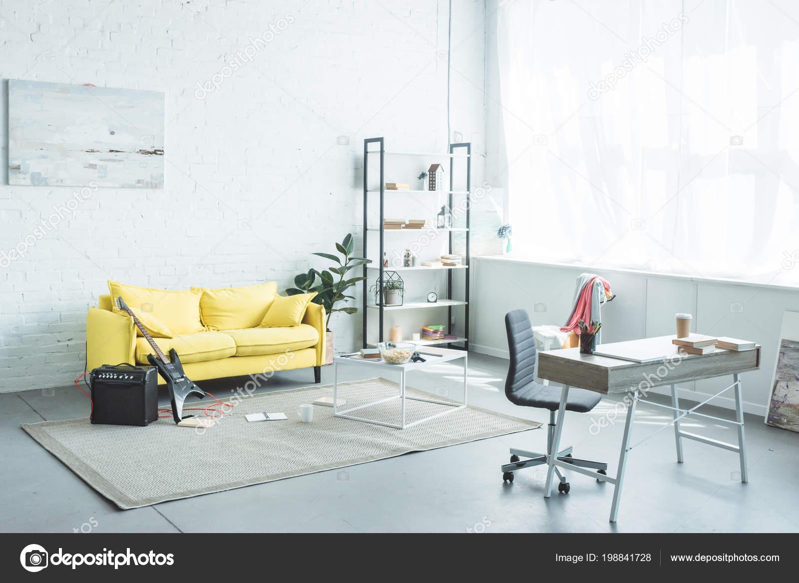 Interior Modern Living Room Sofa Electric Guitar — Stock Photo ...