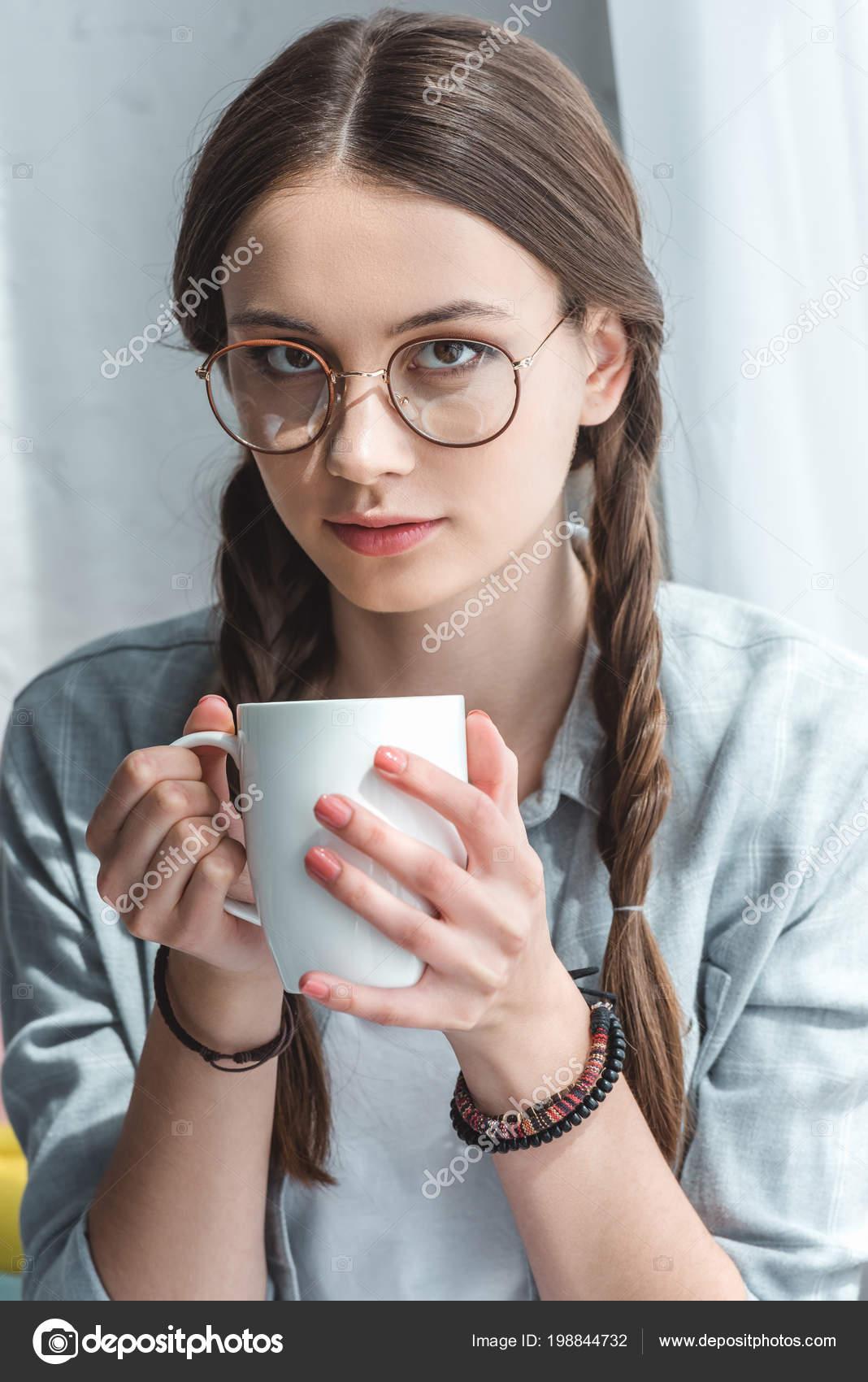 aa3b7ce6553c Attractive Teen Girl Eyeglasses Drinking Coffee — Stock Photo ...