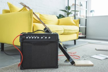 electric guitar and loud speaker standing on floor with books near sofa