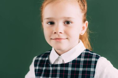 Close-up portrait of beautiful little red haired schoolgirl smiling and looking at camera stock vector