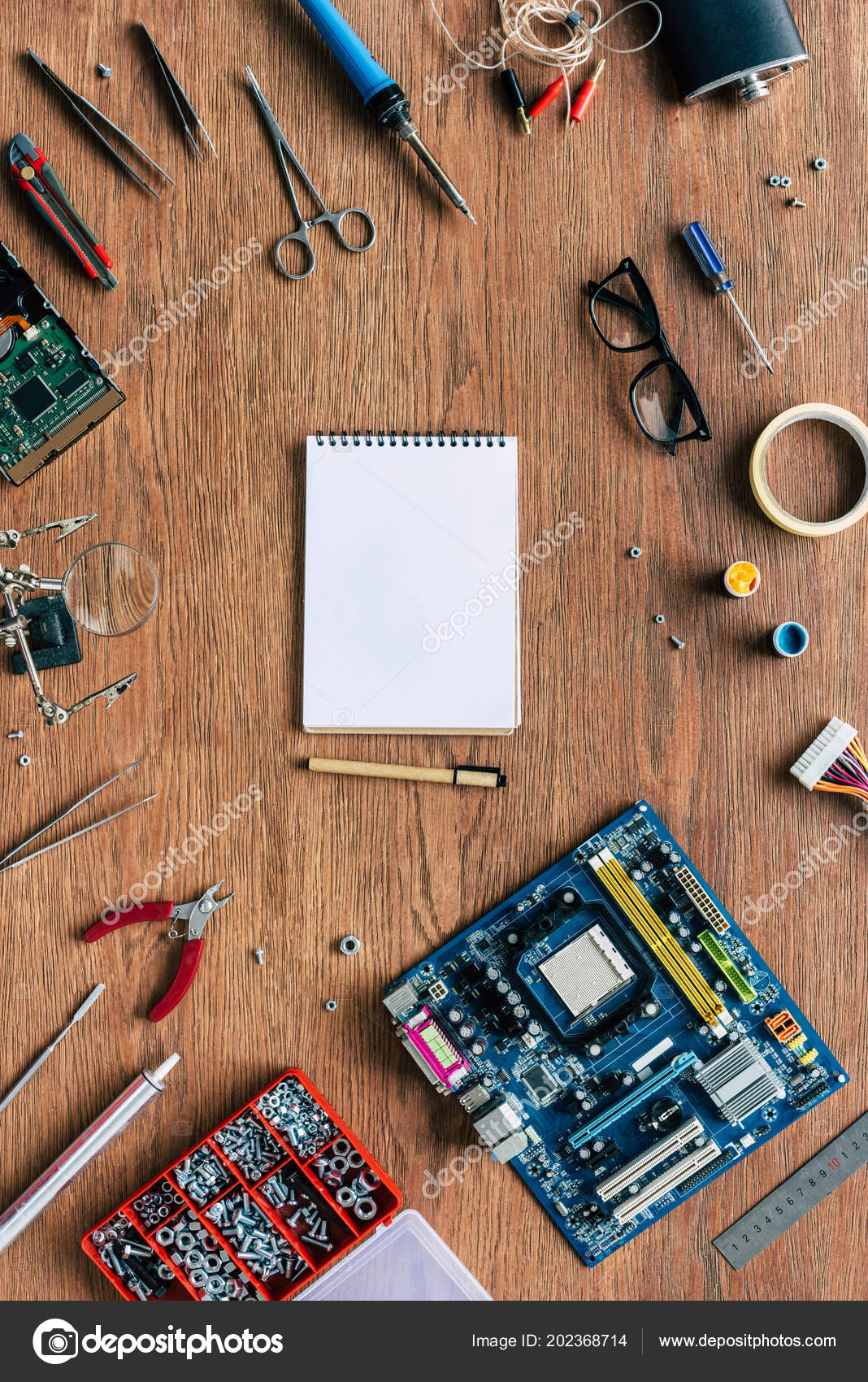 Top View Empty Textbook Pen Repairing Tools Motherboard Wooden Table Electronic Circuits Stock Photo