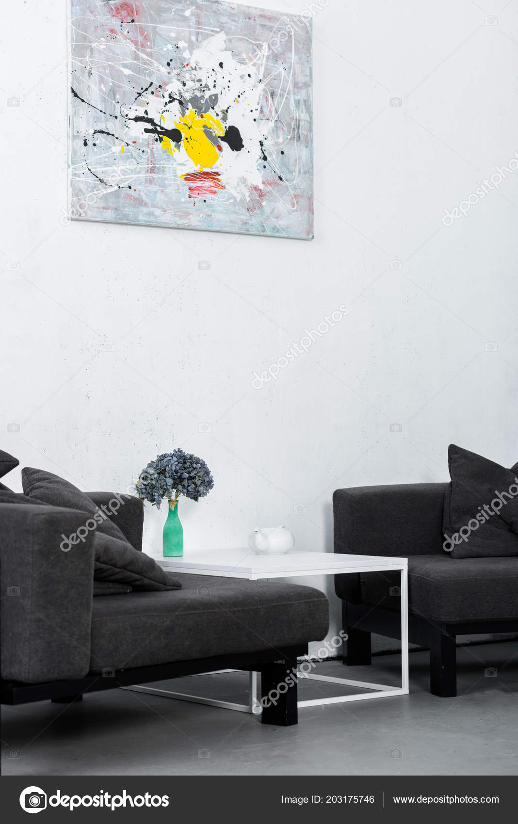 Paint Wall Black Modern Armchairs Living Room — Stock Photo ...