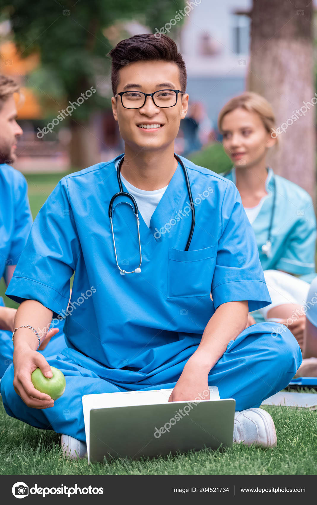 Handsome Asian Medical Student Holding Apple Laptop Looking Camera — Stock  Photo