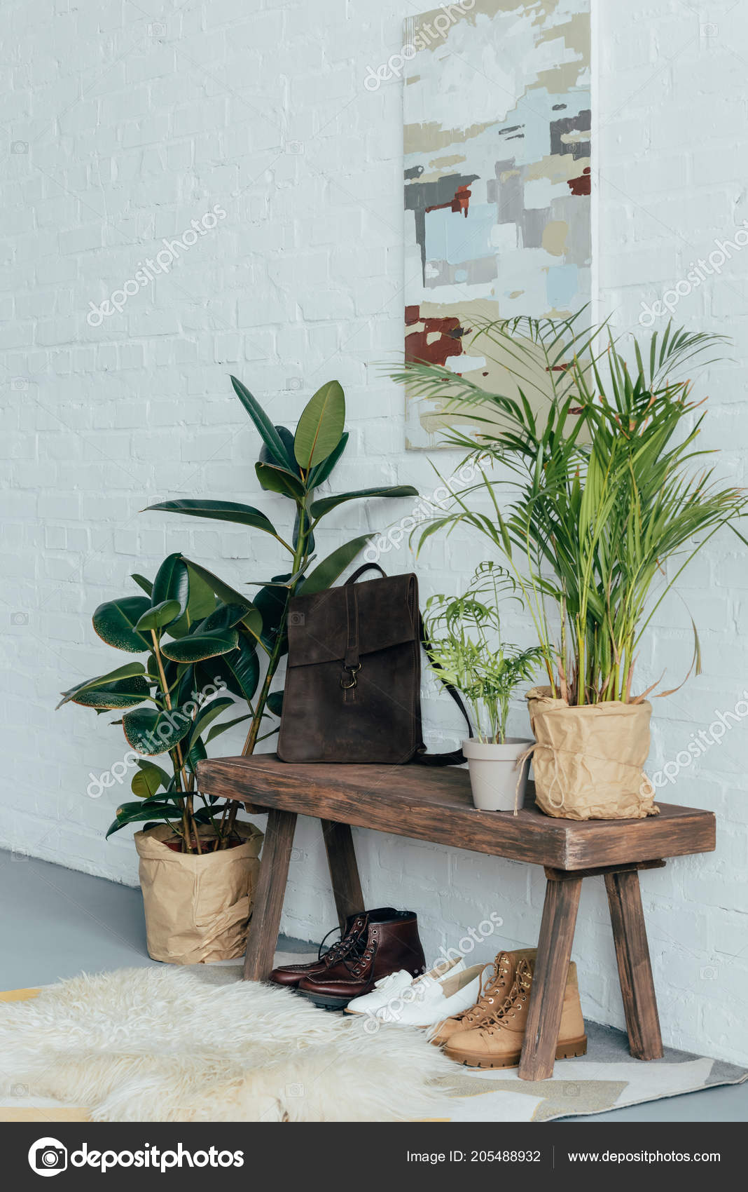 Fabulous Different Shoes Wooden Bench Corridor Potted Plants Floor Caraccident5 Cool Chair Designs And Ideas Caraccident5Info
