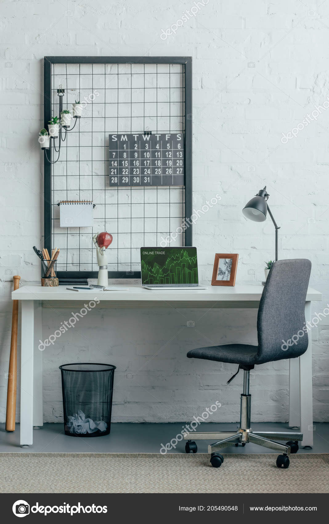 Laptop Loaded Online Trade Page Table Modern Office Stock Photo