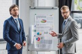 Fotografie handsome young businessmen standing near whiteboard with charts and graphs