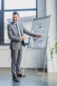 smiling young businessman pointing at whiteboard with business charts and graphs