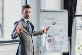young businessman pointing at whiteboard with business charts and graphs