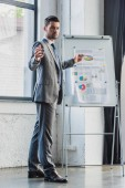 Fotografie full length view of young businessman pointing at whiteboard with business charts and graphs