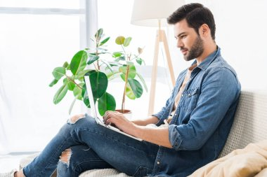side view of smiling male freelancer working with laptop on couch at home