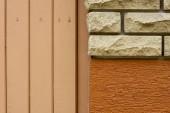 Fotografie Detailní pohled z cihel, hrubé zdi a pozadí Dřevěná prkna