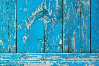 close-up view of old scratched blue wooden planks background