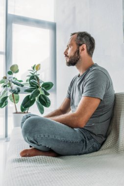side view of bearded frustrated middle aged man sitting on couch and looking away