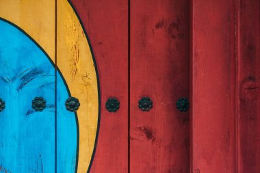 full frame shot of colorful wooden wall for background