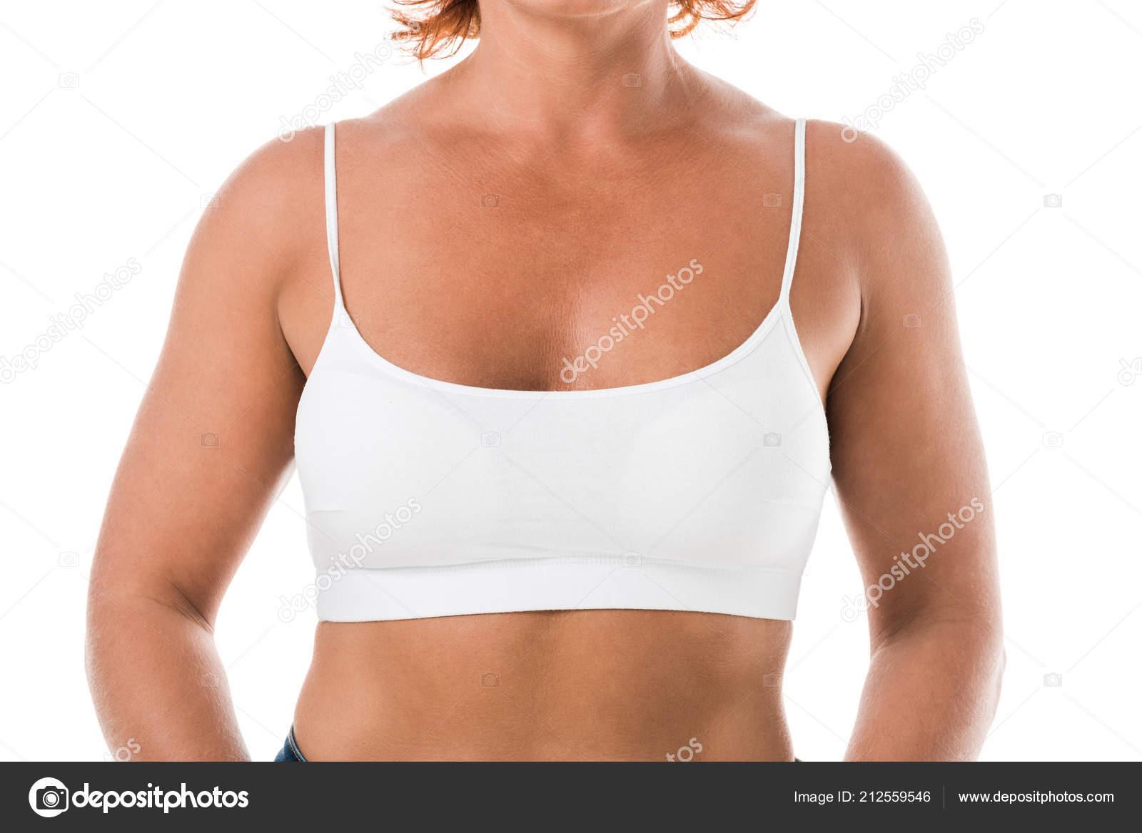 Mature white bra