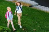 Fotografia vista di alto angolo di scolari carino con zaini camminare sul prato verde e che indica via con il dito