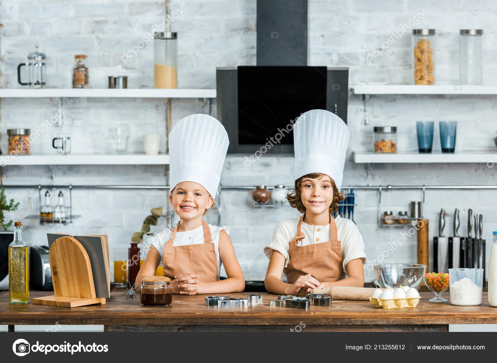 Adorable Happy Kids Aprons Chef Hats Smiling Camera While ...