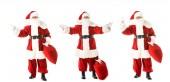 koláž z směřují santa Clause s pytlem v různých pózách izolované na bílém