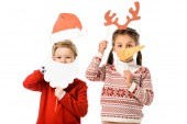 Fotografie cute little kids with christmas masks isolated on white