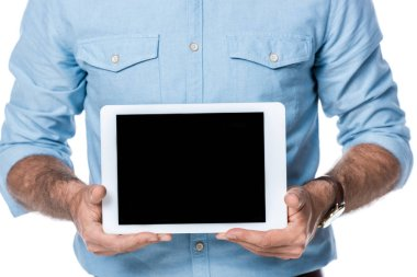 man holding digital tablet with blank screen isolated on white