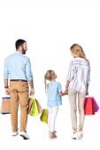 Fényképek a bevásárló szatyrok elszigetelt fehér család hátulnézet