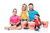 Fotografie front view of family with popcorn and 3d glasses isolated on white