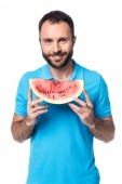 Fotografie bearded man with watermelon isolated on white