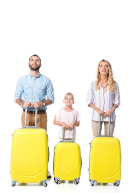 Family with yellow travel bags looking up isolated on white stock vector