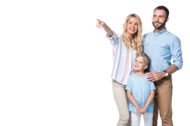 smiling family with woman showing on something isolated on white