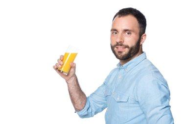 bearded man drinking orange juice isolated on white