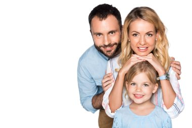 Smiling family looking at camera isolated on white stock vector