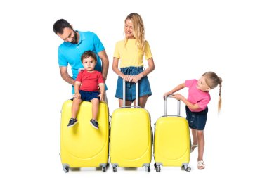 Family with yellow baggage isolated on white stock vector