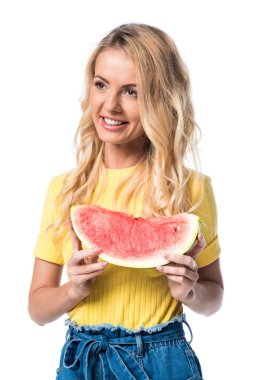 Smiling woman with watermelon isolated on white stock vector