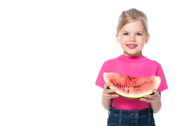 Child with fresh watermelon isolated on white stock vector